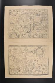 (丙1135)复制版 寰宇全图之《TARTARIAE SIVE MAGNI CHAMI REGNI》《CHINA》黑白地图单面2张 1570年鞑靼地图 等标记 《Theatrum orbis terrarum》寰宇全图由弗兰德学者及地理学家亚伯拉罕?奥特里斯(Abraham Ortelius)在 1570 年首次出版,其中共包含 53 幅地图,每幅地图均附有详细注释。