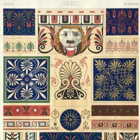 「希腊纹饰」1877年 大幅彩色石版画 拉西奈纹饰 尺寸37*27.5厘米 /RacinetB05