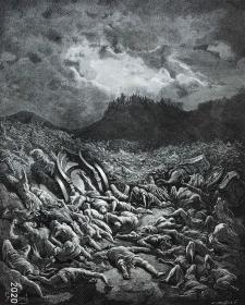"""【古斯塔夫·多雷 Doré木刻版画】1866年圣经系列《亚扪人和摩押人被击败》—法国画家""""古斯塔夫·多雷(Gustave Doré,1832-1883)""""作品 尺寸:43x31cm"""