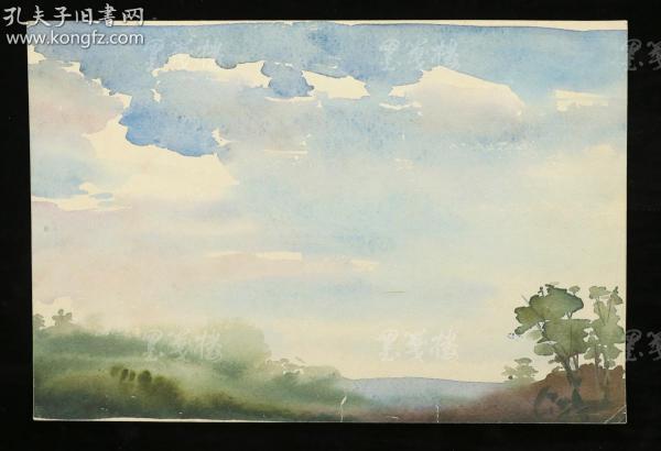著名水彩画家、曾任哈工大教授 陈桂馥 水彩画作品一幅两面(尺寸:22*32m)HXTX312711