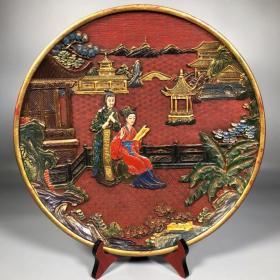 漆器漆绘描金雕刻红楼梦赏盘摆件