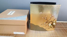 N0495号   贴金箔的树脂花器  《锦花鸟四季花生》     重1.15公斤!