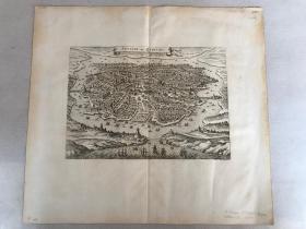 17世纪外国(德)铜版印制《广州城图》一张。手工白纸,珍贵罕见!