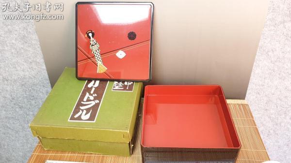 N 0503号   (山中涂)树脂漆器   两层食盒  未使用新品!