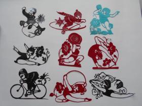 70年代剪纸【儿童体育】剪纸9张