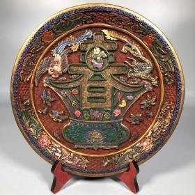 漆器雕刻春盘赏盘摆件