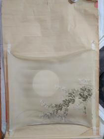 清末民初丰阳槐花月夜绢画保真(包邮)