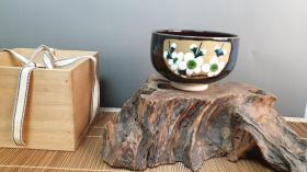 N 0520号    九谷烧  (柏翠)制茶碗      未使用新品! 有木盒(没有盖)