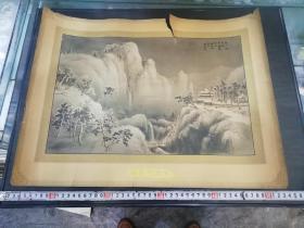 民国胡伯翔绘哈德门香烟广告画《高上烟中阁,平看雪后山》,38×51厘米