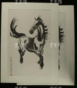 珂罗版精印 徐悲鸿《奔马》两幅(宣纸、绢本各一幅,尺寸45*32.5cm)HXTX168807