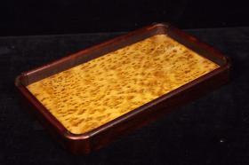 老木雕花梨木边框镶嵌金丝楠木茶盘果盘