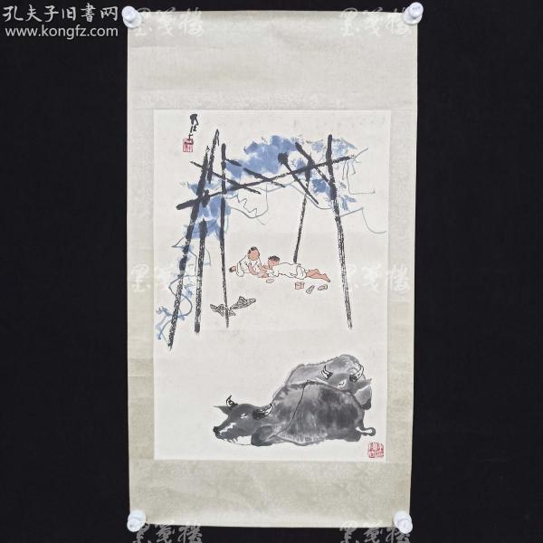 1958年 荣宝斋精制木版水印 李可染画作《牧牛图》一幅(纸本镜心,尺寸70*46cm)HXTX168772