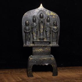 藏传老佛像纯铜鎏金板凳佛