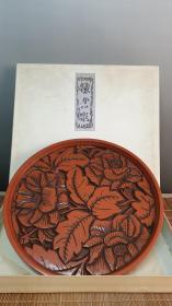 N 0513号   镰仓彤漆器       木胎雕刻漆盘