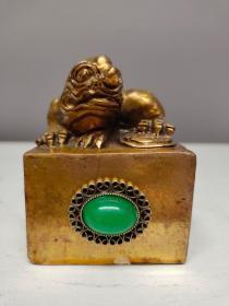 纯铜鎏金书房印章古兽印钮闲章镶嵌翡翠玉石印章摆件