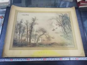 民国胡伯翔绘哈德门香烟广告画《日暮鸟雀稀,雅子呼牛归》,38×51厘米