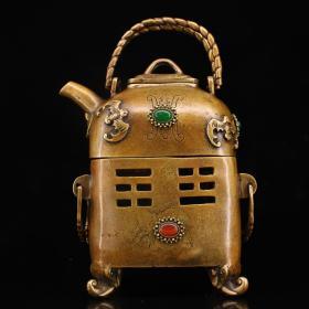 珍藏老纯铜纯手工打造镶嵌宝石碳炉烧水茶壶