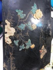 古家具装饰 漆器 镶嵌玛瑙 屏风,没有木框。