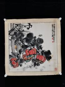 """著名书画家、山东荷泽画院副院长 黎邦定 戊寅年(1998)水墨画作品""""南瓜图""""一幅(纸本镜芯,画芯约4.2平尺,钤印:黎印、邦定)HXTX313979"""