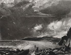 """【大英博物馆藏画】1830年英国风景""""康斯特勃""""作品系列美柔汀铜版画《韦茅斯湾》—英国皇家美术学院院士""""约翰・康斯特勃(John Constable,1776—1837)""""作品 雕刻:David Lucas 尺寸42x29cm 高档美柔汀铜版画 大英博物馆收藏编号:1846,0130.18(官网可查)"""