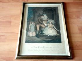 约1800年套色铜版画《被情人抛弃后的拉蒂亚乞求父母宽恕和保护》 (THE FAIR PENITENT)-- 出自18世纪末英国著名画家,乔治·莫兰(George Morland,1763-1804)绘画作品 -- 雕刻师为18世纪意大利著名雕刻家、插画家和出版商,弗朗西斯科-巴托洛基(Francesco Bartolozzi,1727-1813) -- 原木老画框52*40厘米 -- 非常精美