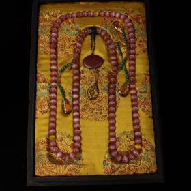 108颗粉色猫眼石朝珠珠串项链双龙漆器木盒一套
