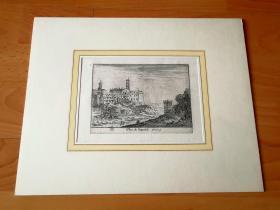17世纪原版蚀刻《坎皮多里奥古城,意大利古罗马景观遗迹》(veue du campidolio)--法国画家小伊斯雷尔·西尔维斯特原始蚀刻作品--卡纸画框30*24厘米,版画纸张28.8*20厘米