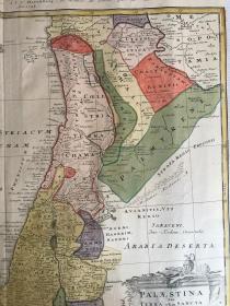 """18世纪(1744年)拉丁文铜板手工填色古地图""""巴勒斯坦圣地""""大幅一张55.5x48.5cm"""