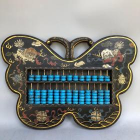 木胎漆器漆绘描金狮子滚绣球图蝴蝶形算盘精打细算摆件挂件