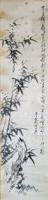日本江户时代著名诗人、汉学家 梁川星岩 (1789-1858)  水墨画《墨竹图》 一幅(纸本立轴,画心约3.8平尺,钤印:梁纬、公图、梁孟纬印)HXTX314065