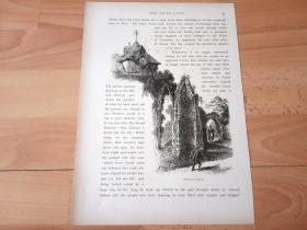 """1878年木刻版画《古老的中世纪教堂遗址-- 温彻尔希教堂,埃塞克斯郡,英格兰》(Winchelsea Church)-- 温彻尔希教堂是位于英国埃塞克斯郡的古老乡间教堂, 1790年10月6日,英国""""卫理宗""""创始者约翰·卫斯理在此举行其一生最后一次的露天布道 -- 选自《如画的欧罗巴》-- 纸张尺寸30*21.5厘米"""