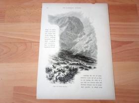 1878年木刻版画《康威山谷的自然风光 -- 雪山下的牧场,北威尔士》(Cliffs of the Conway Mountain)--  选自《如画的欧罗巴》-- 纸张尺寸30*21.5厘米