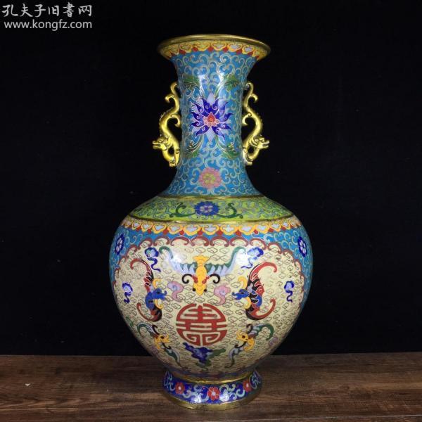 銅胎景泰藍五福瓶