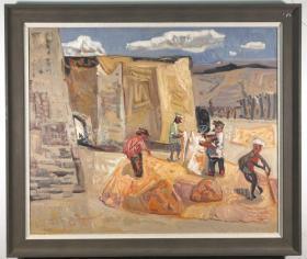 著名油画家、中国美术家协会会员 于来2017年油画作品《黄土人家》一幅带框(尺寸99*119cm)HXTX316311