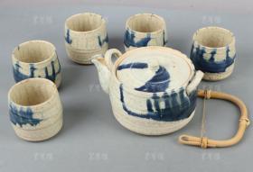 【日本回流】 竹叶纹、竹节茶具一套6件 HXTX181057