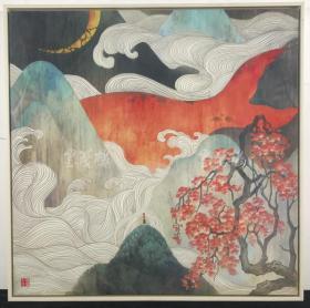 佚名 绘画作品《秋风红叶》一幅带框(尺寸60*60cm,钤印:海棠大鱼)HXTX314353