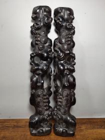 老檀木雕刻寿比南山不老松书房镇纸摆件雕工精湛包浆完美