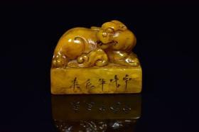 老寿山石田黄石雕刻古兽印钮书房印章摆件