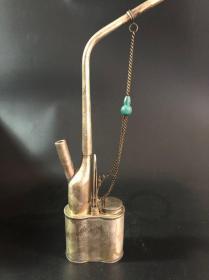 早期珍藏铜水烟袋浮雕寿星