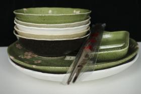 【日本回流】竹久梦二美术馆监修 樱花餐具 一套九件 HXTX180972