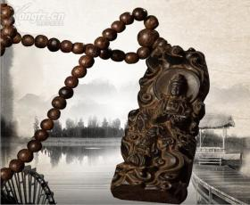 特大号越南沉香观音雕挂件皮黑无事牌(一链一牌合为一套,可做车挂)