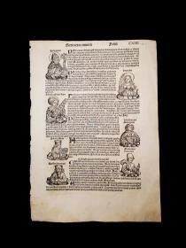 1493 World Chronicle or Nuremberg Chronicle No.114 珍稀摇篮本《纽伦堡编年史》又名《世界编年史》,最著名的摇篮本之一!丢勒及其老师超级珍贵原版木刻版画!非常珍贵!超大开本! 拉丁文版