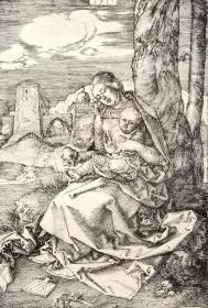 """""""巨幅丢勒名画""""1912年复刻版""""丢勒Albrecht Dürer""""系列铜版画 —《墙边的圣母子》42x32cm 原尺寸复刻"""