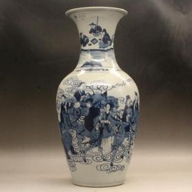 清雍正 青花八仙人物大瓷瓶 高42.5CM