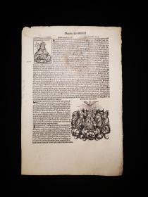 1493 World Chronicle or Nuremberg Chronicle No.206 珍稀摇篮本《纽伦堡编年史》又名《世界编年史》,最著名的摇篮本之一!丢勒及其老师超级珍贵原版木刻版画!非常珍贵!超大开本! 拉丁文版