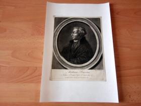 1759年美柔汀铜版画《欧洲文艺复兴时期洲新教神学家和改革家,马丁·比塞肖像》(Martinus Bucerus)-- 马丁·比塞(1491-1551年),定居于英国,执教于剑桥大学讲授神学之前,参加过若干次宗教会议。他死后,女王玛丽一世命令破坏其墓地,焚毁了他的尸体 -- 理查德·休斯敦(Richard Houston)雕刻作品 -- 后背纸张41.5*28厘米,版画纸张27.5*21厘米