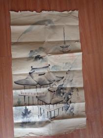 工艺品字画,民国老画佚名,品好如图。不保真。