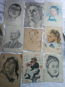 五六十年代期间画家素描画稿共25张合拍!!19*26厘米,人物风景,主席画像等