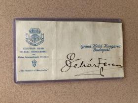 奥地利著名的轻歌剧作曲家:弗朗兹·莱哈尔(Franz Lehar,1870-1948)签名卡片,保真!