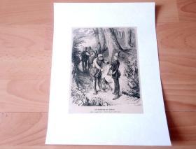 19世纪木刻版画《狩猎系列-- 丛林中的捕猎队》(Die Anstellung der Schutzen) -- 后背纸张30*22.5厘米,木刻纸张19*14.5厘米